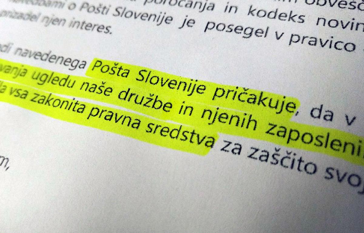 Pošta Slovenije z grožnjami s tožbo nad Časopis Slovenec?