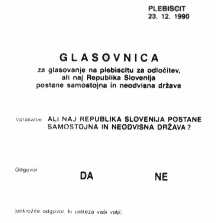 Volilni listič za plebiscit.
