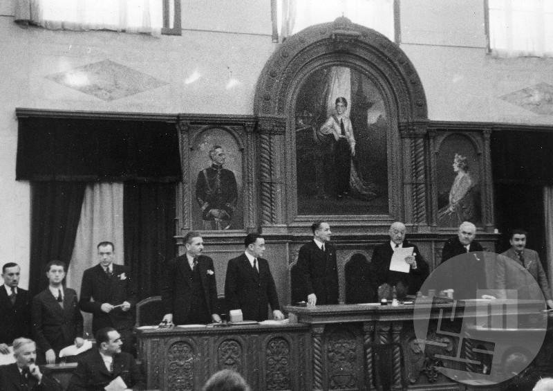 Dr. Anton Korošec govori v senatu Kraljevine Jugoslavije.
