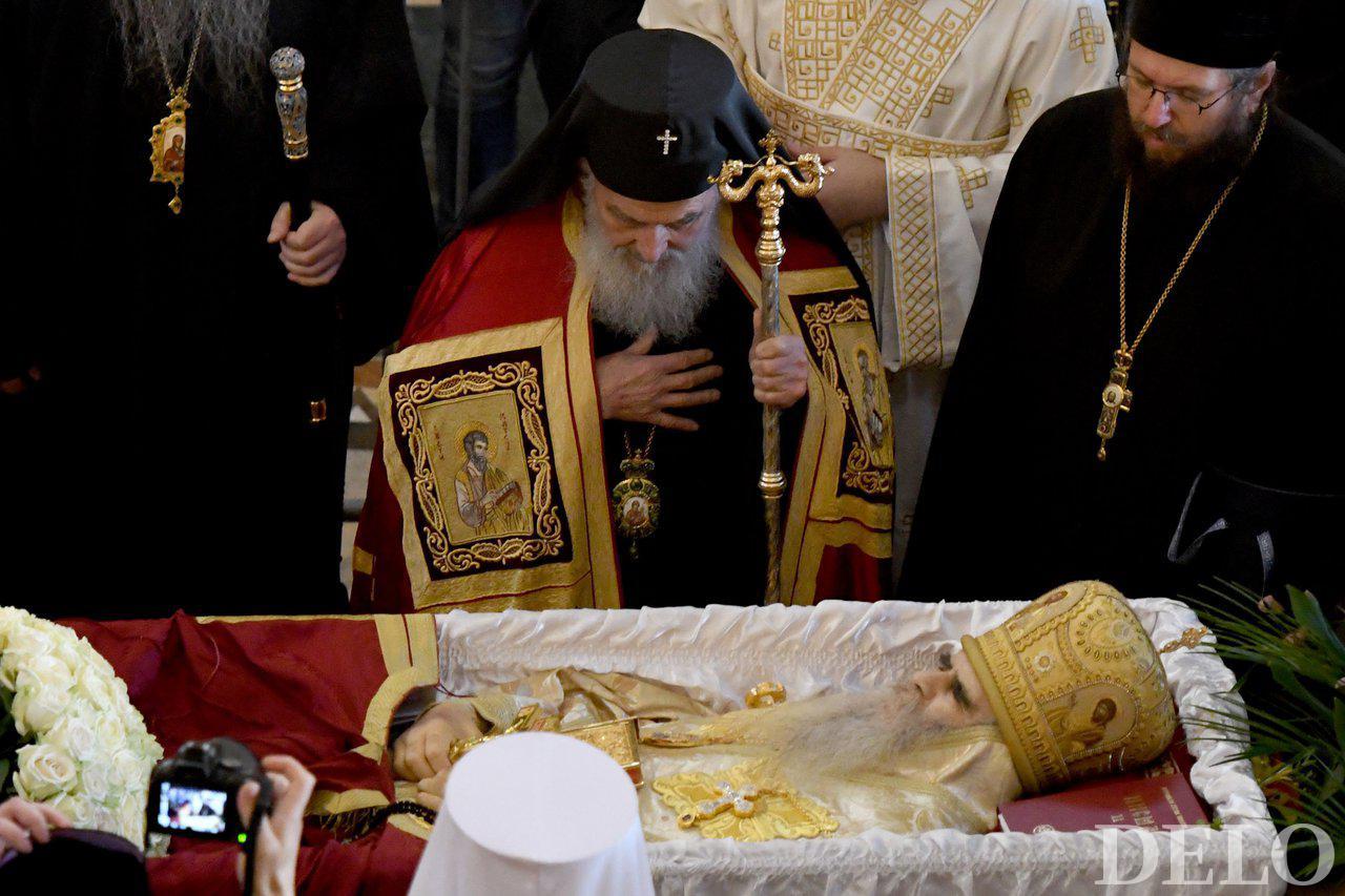 Pogreb srbskega patriarha Irinej, ki je umrl zaradi covida.