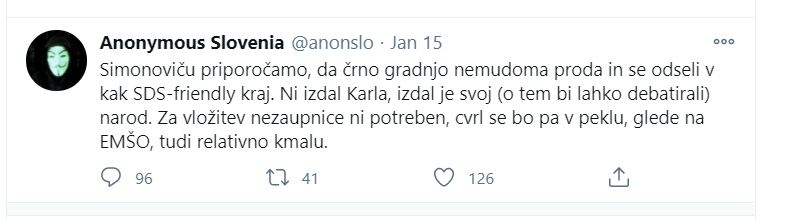 Grožnja ni vredna obravnave, ker je ni napisal Janez Janša.