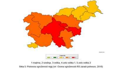 Najbolj  ogrožene  regije  z  vidika  potresa  so  Ljubljanska,  Posavska  in  Zasavska  regija.