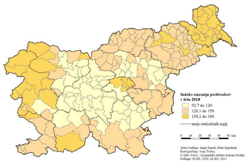 Indeks staranja prebivalcev v letu 2018 po demografsko homogenih območjih.