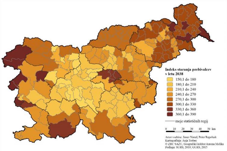 Indeks staranja prebivalcev v letu 2038 po demografsko homogenih območjih.