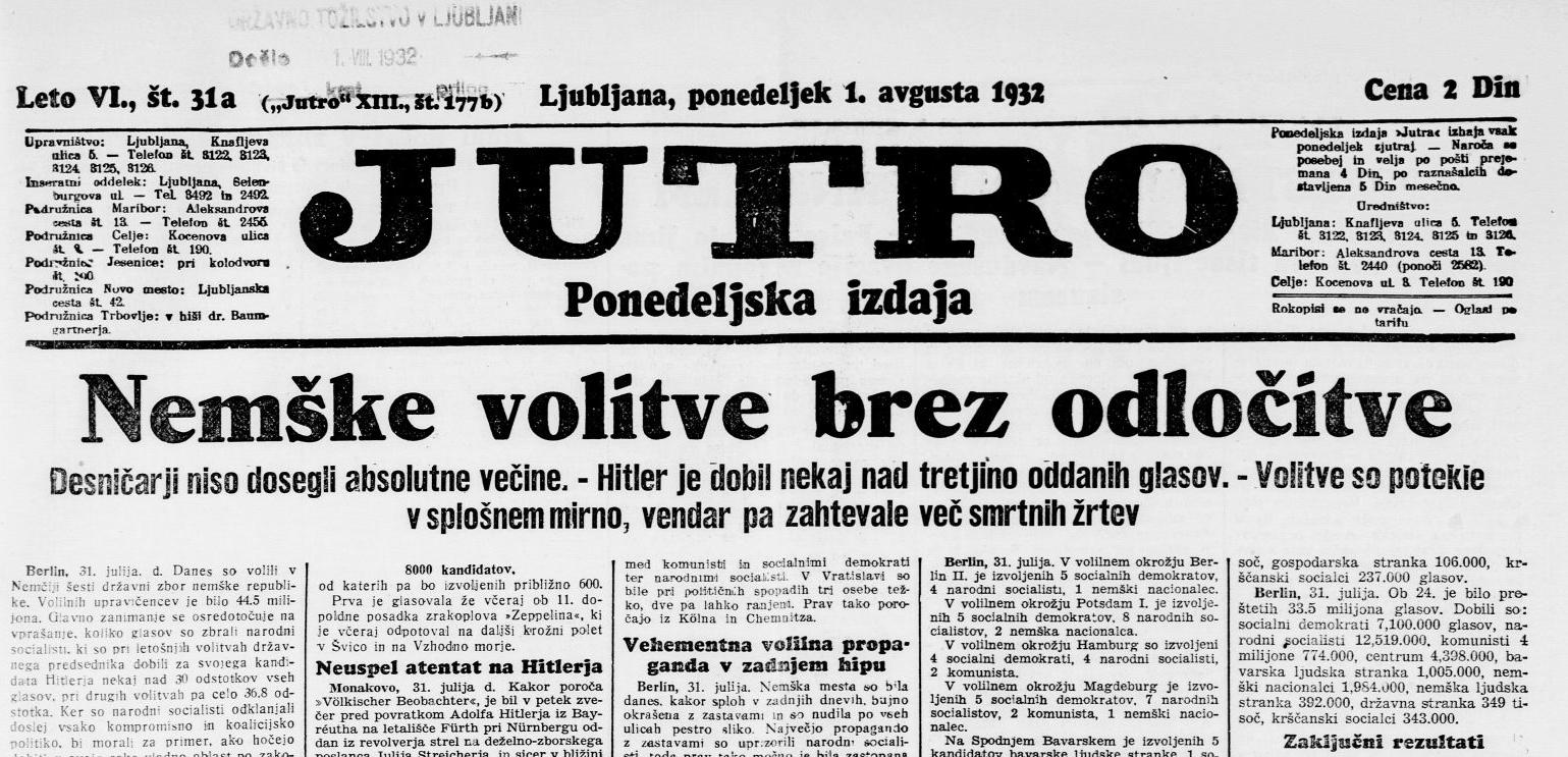 Časopis Jutro je pri nas deloval med leti 1920 in 1945.
