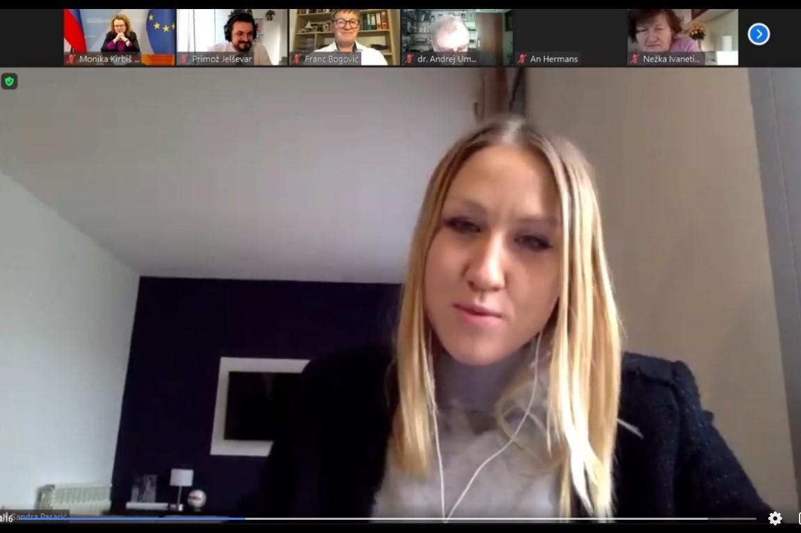 Sandra Pasarić, strokovna sodelavka, Wilfried Martens Centre for European Studies. Vir slike: Posnetek zaslona INAK.