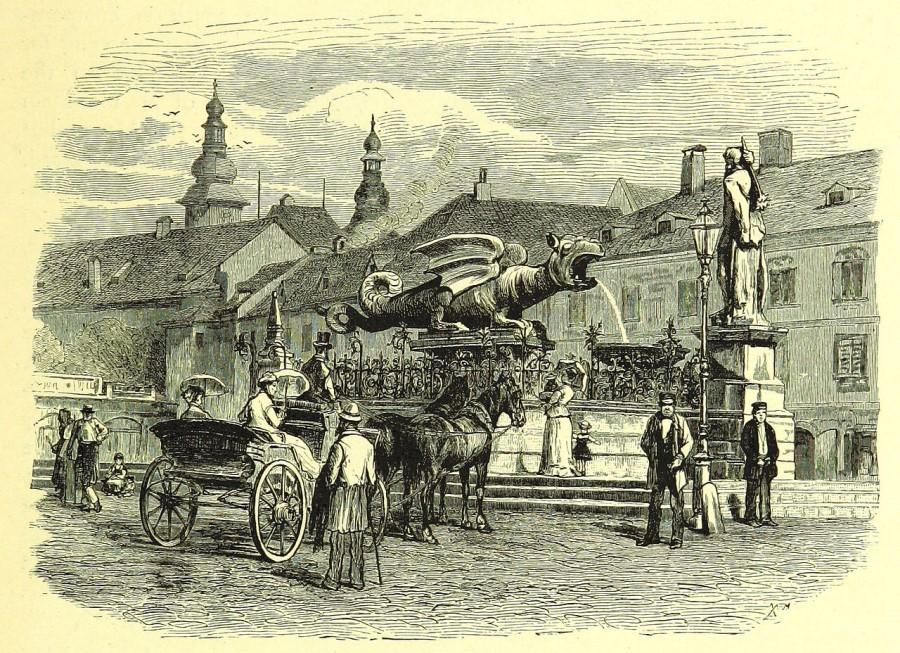 Na lesorezu neznanega avtorja iz leta 1880 je spomenik zmaju, zaščitni znak Celovca in ena največjih znamenitosti mesta.