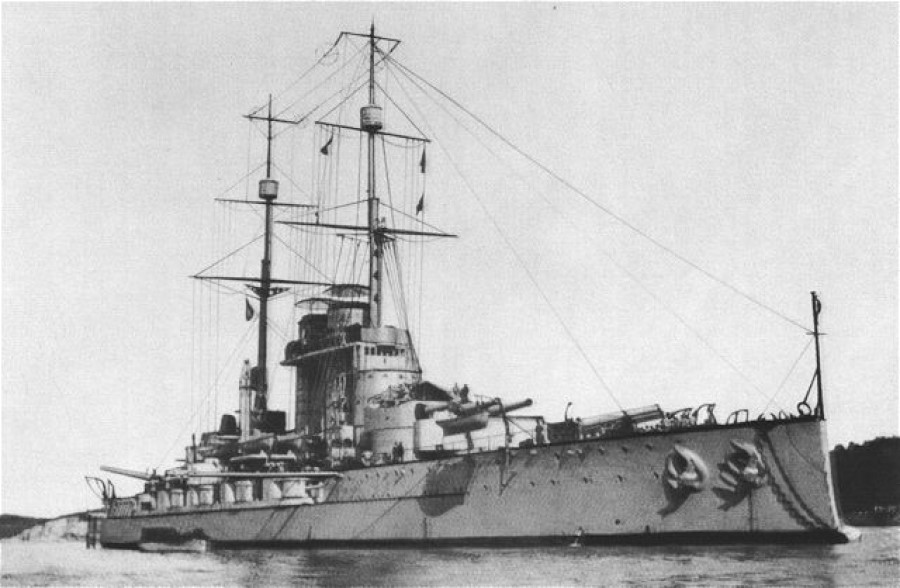 Naši zavezniki so nam od celega avstro-ogrskega brodovja pustili nekoliko lupin, ki predstavljajo danes prej količino starega železa nego vojno mornarico Kraljevine Srbov, Hrvatov in Slovencev.