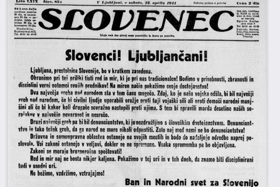 Leta 1941 je ban Marko Natlačen pozval Slovence, naj med okupacijo ne škodijo drug drugemu. Vir: Slovenec, 12. aprila 1941.