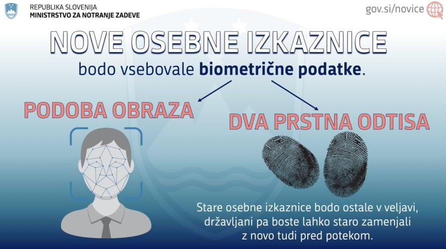 Na novi izkaznici bo čip, na katerem bodo podoba obraza lastnika in njegov prstni odtis shranjeni kot biometrični podatek.