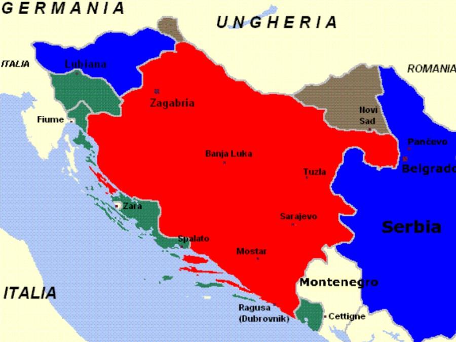 Razdelitev Jugoslavije in Slovenije med silami osi: Nemška zasedba (modra), Italijanska zasedba (zelena) in Madžarska zasedba (siva), Hrvaška NDH (rdeča).