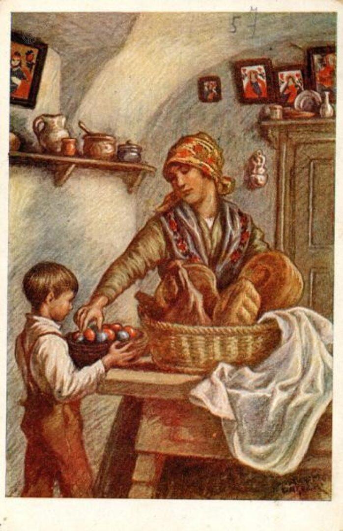Velikonočna voščilnica Maksima Gasparija, na kateri mati v jerbas zlaga jedi za k blagoslovu.