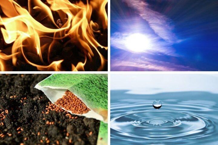 Okolje in štirje starogrški elementi: zrak, voda, zemlja in ogenj