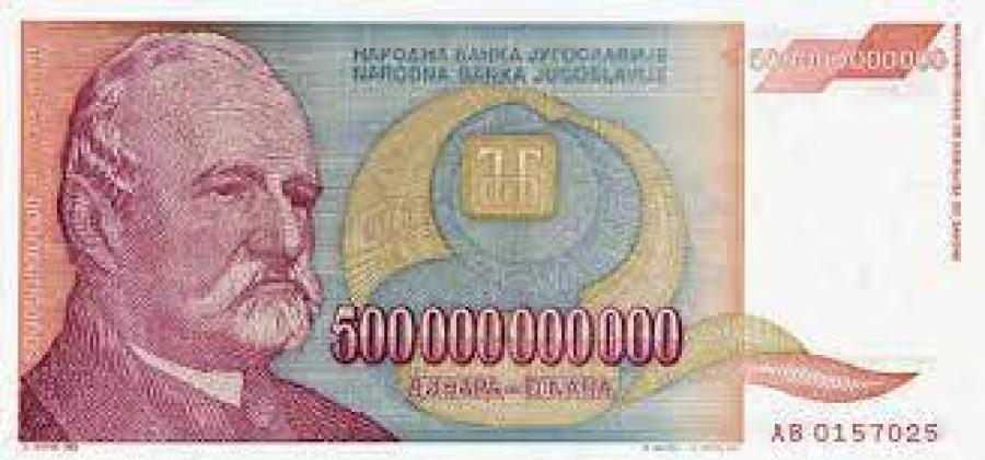 Največji bankovec v obtoku je bil za 500 milijard dinarjev, katerega se je dalo kupiti dva litra mleka.
