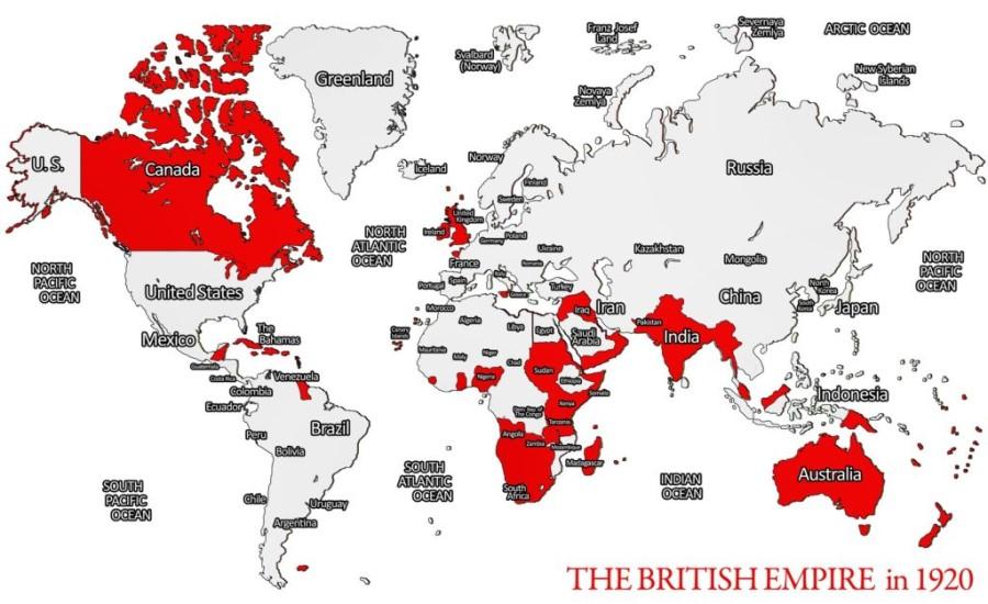 V letu 1921 je britanski imperij obsegal celotno Kanado, Indijo in Avstralijo...