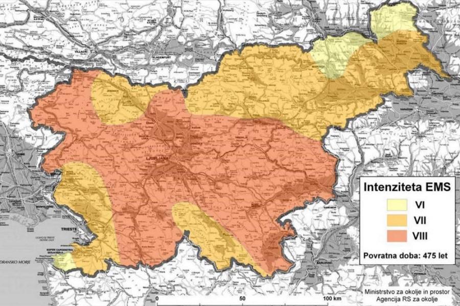 Potresna območja v Sloveniji.