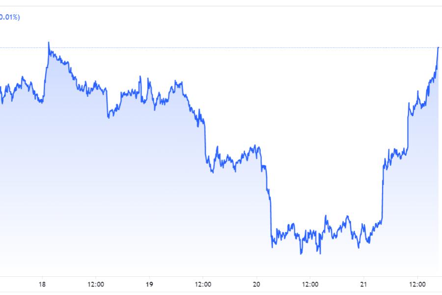 Prikaz padca in ponovnega vzpona cene bitcoin valute