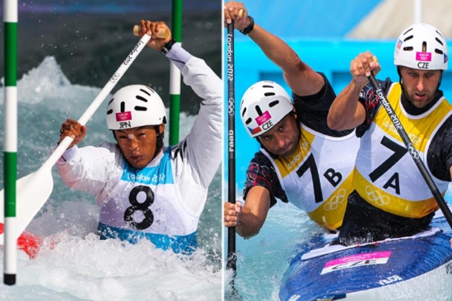 Pri kanuju je položaj veslanja tak, da imamo eno koleno na tleh čolna – skratka na kanu poklekne. Kajakaši pa veslajo v sedečem položaju z iztegnjenimi nogami.