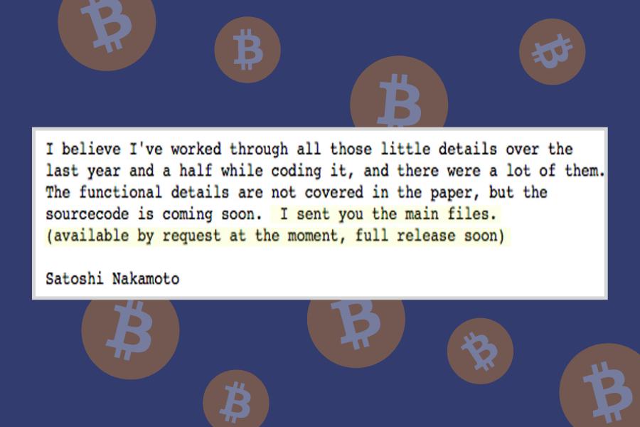 Eno izmed sporočil Satoshi Nakamotoja o kodiranju Bitcoina. Vir slike: Bitcoin.org.