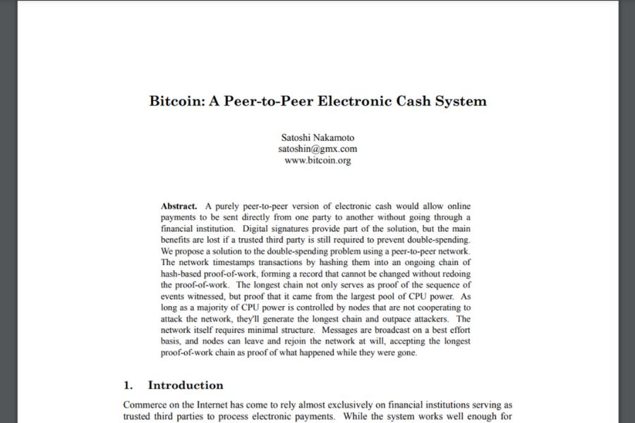 Whitepaper oziroma predstavitveni dokument o Bitcoinu. Vir slike: Bitcoin.org.