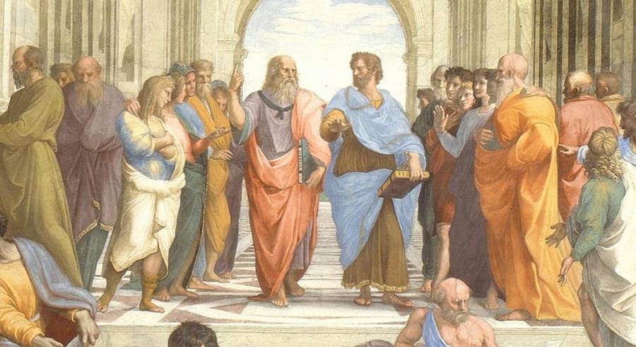 Aristotel v središču slavne Rafaelove slike. Vir slike: Thegreatcoursesdaily.com