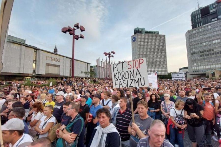 Sredin protest. Organizatorji so ocenili, da je bilo protestnikov 30.000. Policijska uprava Ljubljana meni, da jih je bilo 8000. Vir slike: Siol.net. Foto: Bojan Puhek.